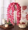 Pink Fabric Beautiful Artificial Hanging Orchid Flowers with Real Looking Leaves by Fourwalls