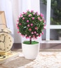 Pink Synthetic Miniature Table Top Artificial Topiary Plant with Vase by Fourwalls