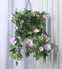 Fourwalls Pink Synthetic Tall Morning Glory Hanging Basket Decorative Artificial Plant