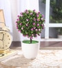 Purple Synthetic Miniature Table Top Artificial Topiary Plant with Vase by Fourwalls