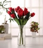 Red 15.4 Inch Artificial Tulip Bunch Set by Fourwalls