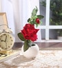 Fourwalls Red Fabric Artificial Velvet Rose with Vase
