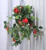 Fourwalls Red Synthetic Tall Hibiscus Hanging Basket Decorative Artificial Plant
