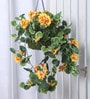 Fourwalls Yellow Synthetic Tall Geranium Hanging Basket Decorative Artificial Plant