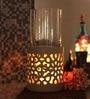 Foyer Brown Woodgrain Ceramic Candle Holder
