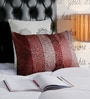 Foyer Red & Brown Silk 14 x 24 Inch Lucilie Cushion Cover