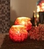 Foyer Red Glass Tealight Candle Holder - Set of 2