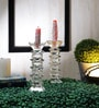 Foyer Transparent Crystal Candle Stand - Set of 2