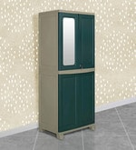 Freedom Wardrobe with Mirror in Olive Green & Pastle Green Colour