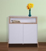 Fressia Side Cabinet in White and Walnut Finish