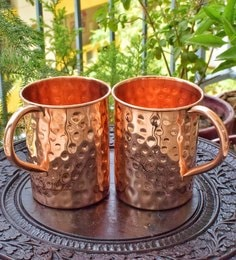 Frestol Pure Copper 400 ML Hammered Beer Mugs - Set Of 2