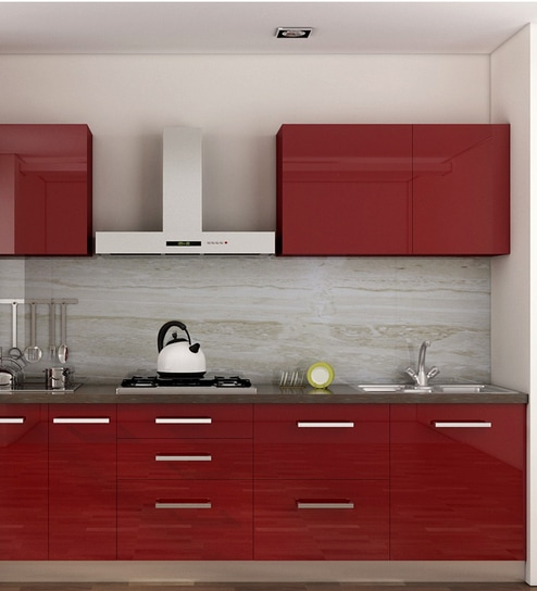 aaa6078f ... Designed in MDF with Violet Acrylic by Mangiamo Online - Straight  Modular Kitchen - Straight Modular Kitchen - Modular Furniture - Pepperfry  Product