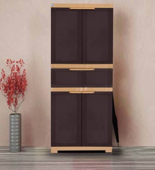 Freedom Multipurpose Cabinet With One Drawer In Brown U0026 Biscuit Color By  Nilkamal