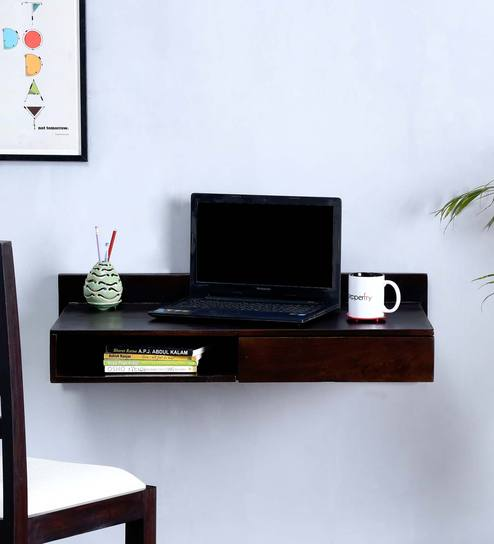 Freemont Wall Mount Study Table In Warm Chestnut Finish By Woodsworth Online Contemporary Laptop Tables Pepperfry