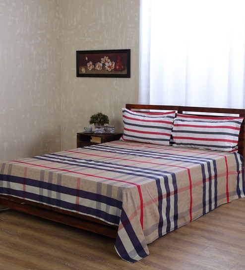 Buy Fresca Home Basics Burberry Print Cotton Double Bed King Size - Invoice sheets free download burberry outlet online store