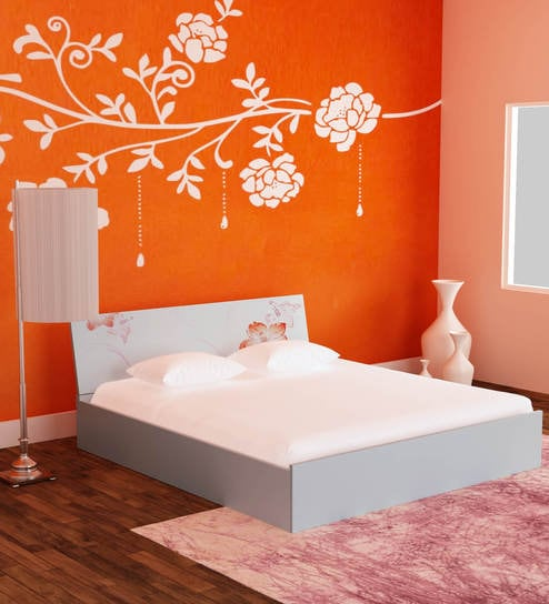 buy fresno queen bed with hydraulic storage in white orange colour