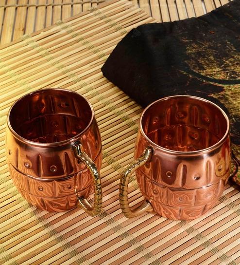 Frestol Copper 500 ML Designer Cup - Set of 2
