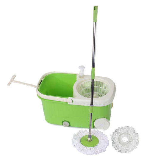 Frestol Plastic Filter Green Cleaning Mop With Wheel