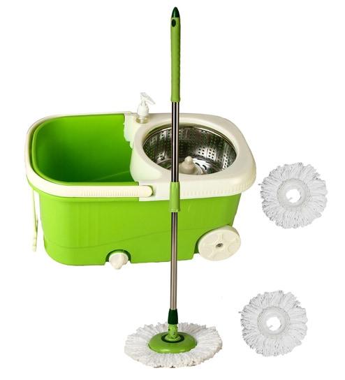 Frestol Steel Mop with Wheel+3 Refill+Rod - Green