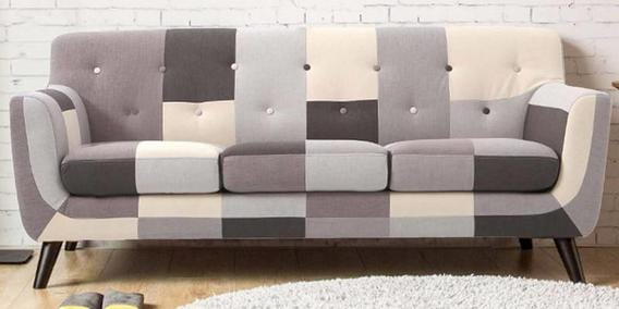 Frida Three Seater Sofa in Grey Multi Colour by CasaCraft