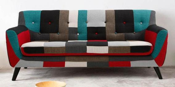 Frida Three Seater Sofa in Red Multi Colour by CasaCraft