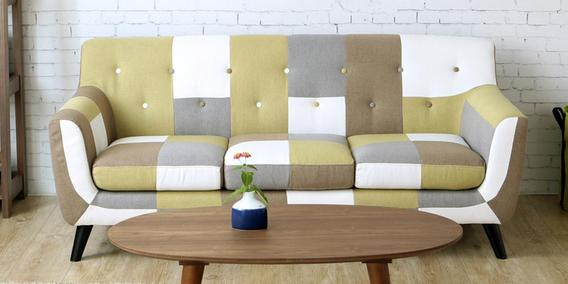 Buy Frida Three Seater Sofa In Yellow Multi Colour By