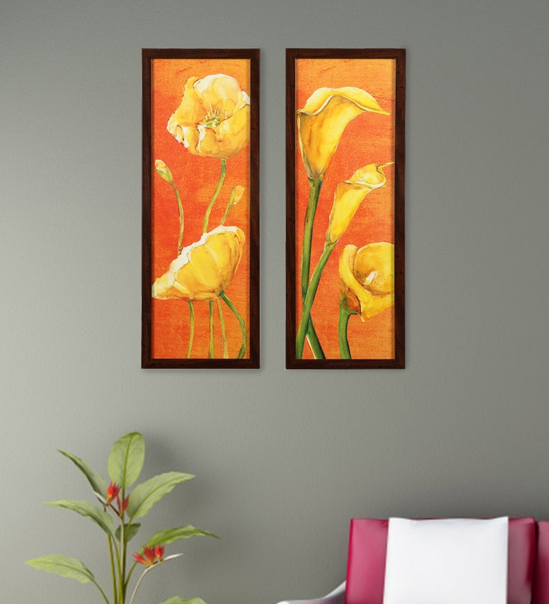 Framed Orange Flowers Wall Painting By @Home- Set Of 2