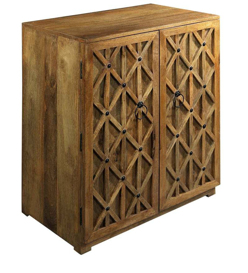 Buy French Bar Cabinet in Natural Mango Wood Finish by Asian Arts ...
