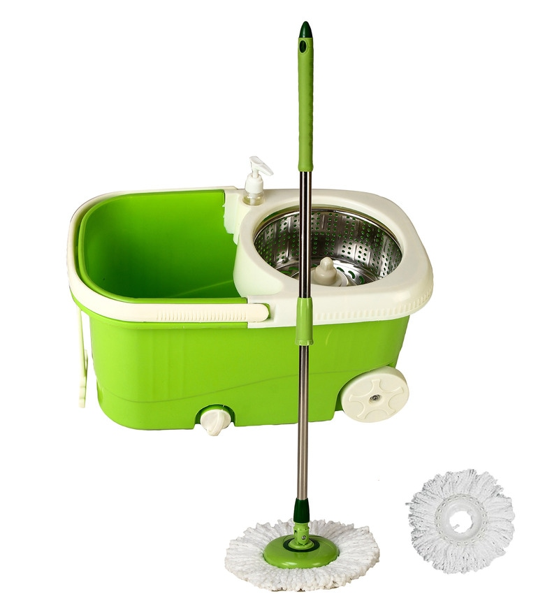 Frestol Steel Filter Green Cleaning Mop with Wheel