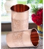 Frestol Embossed Copper & Steel 300 ML Glasses - Set of 2