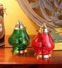 Frestol Red & Green Brass Udipi Jyot - Set of 2
