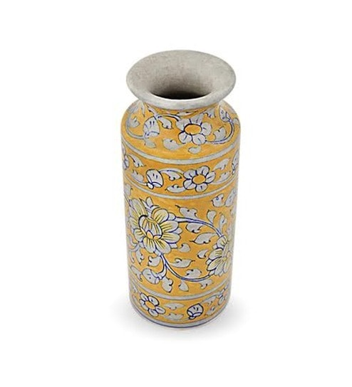 Fstrada Heritage Blue Pottery Large Yellow Vase By Fstrada Heritage