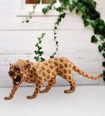 Furncoms Brown Wooden Cheetah Showpiece