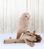 Furncoms Brown Wooden Owl Sitting Showpiece