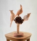 Furncoms Multicolour Wooden Birds Sitting On Tree Showpiece