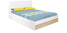Fusion King Size Bed with Hydraulic Storage in White Finish
