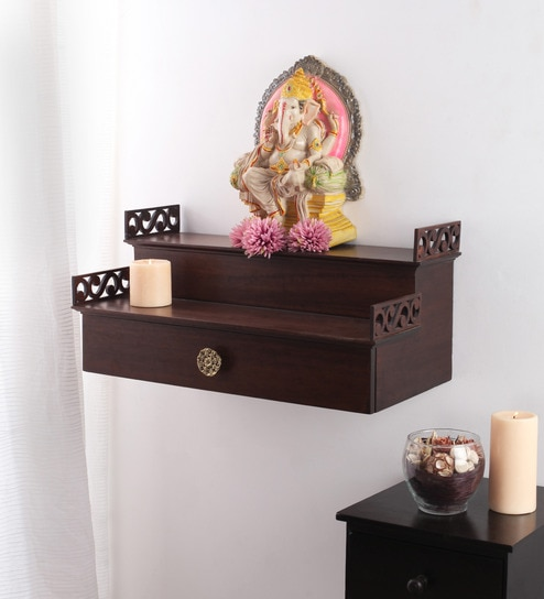 Buy Solid Wood Hand Made Pooja Mandir In Walnut Finish By Furnicheer Online Temples