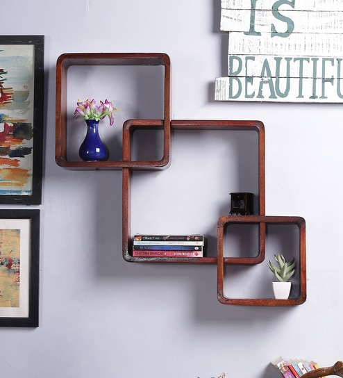 Buy Solid Wood Hand-Made Decorative Wall Shelf With Key Holder in ...