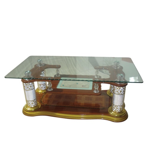 Ethnic Centre Table With Lamp Legs In Oak Colour By Furniture House