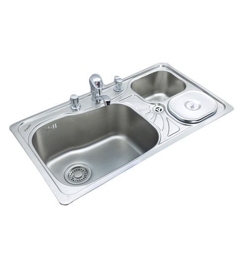 Double Bowl Kitchen Sink | Buy Futura Stainless Steel Double Bowl Kitchen Sink With Drainer Fs