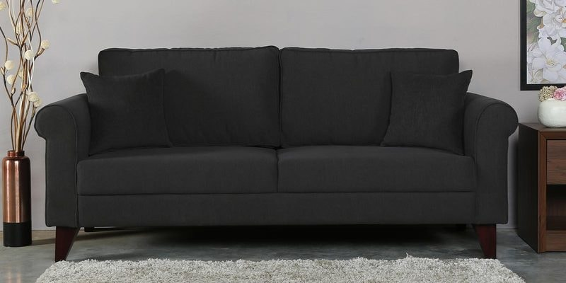 Fuego Three Seater Sofa in Charcoal Grey Colour by CasaCraft