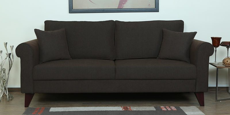 Fuego Three Seater Sofa in Chestnut Brown Colour by CasaCraft