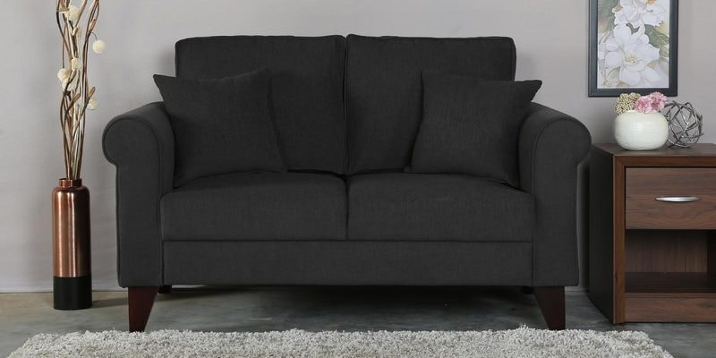 Fuego Two Seater Sofa in Charcoal Grey Colour by CasaCraft