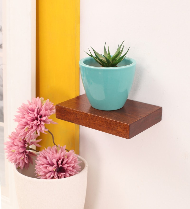 Brown Mango Wood Wall Shelf by Furnicheer