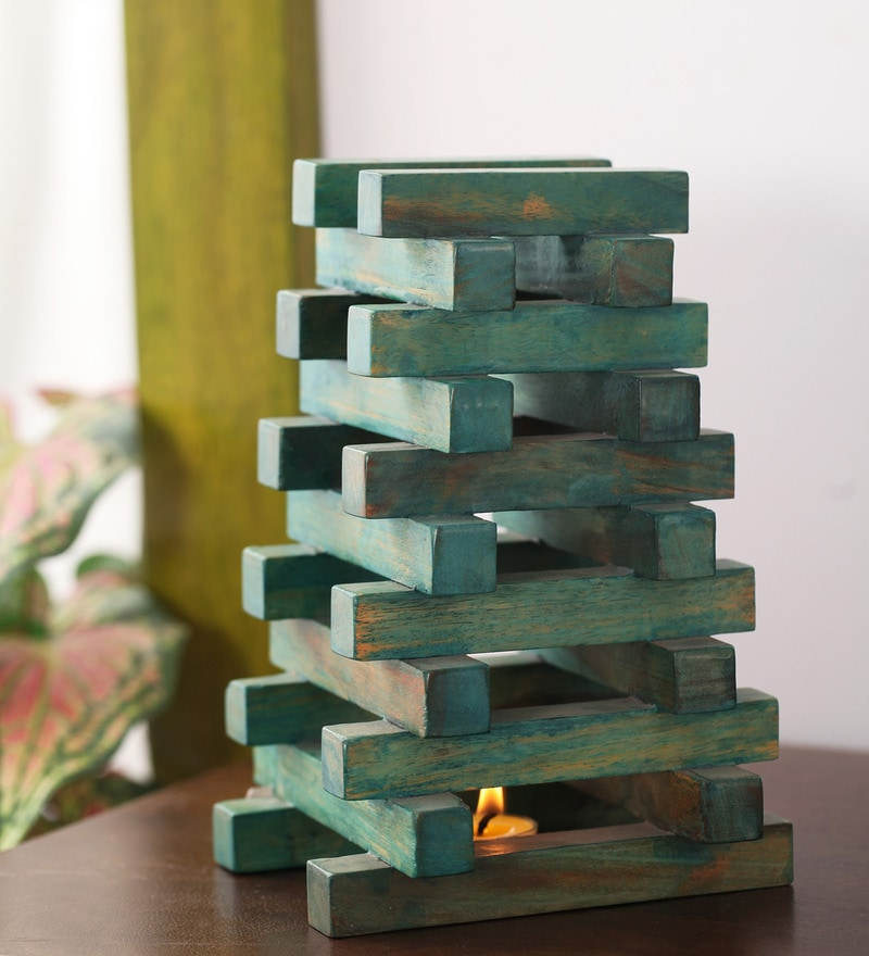 Green Mango Wood Pyramid Showpiece by Furnicheer