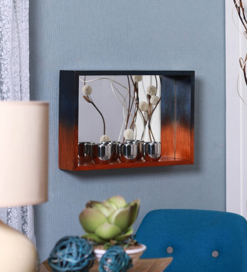 Indigo Blue and Tangerine Orange Mango Wood Niche Mirror Medium Wall Shelf by Furnicheer