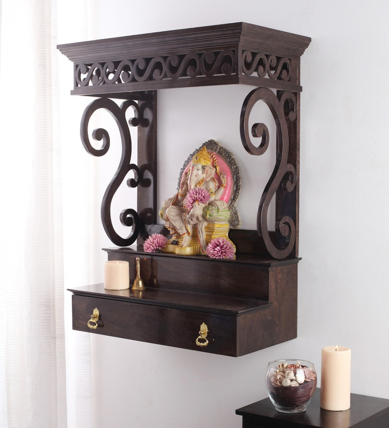 Buy Wenge Mango Wood Avaneesh Wall Mounted Temple By Furnicheer Online Temples Temples