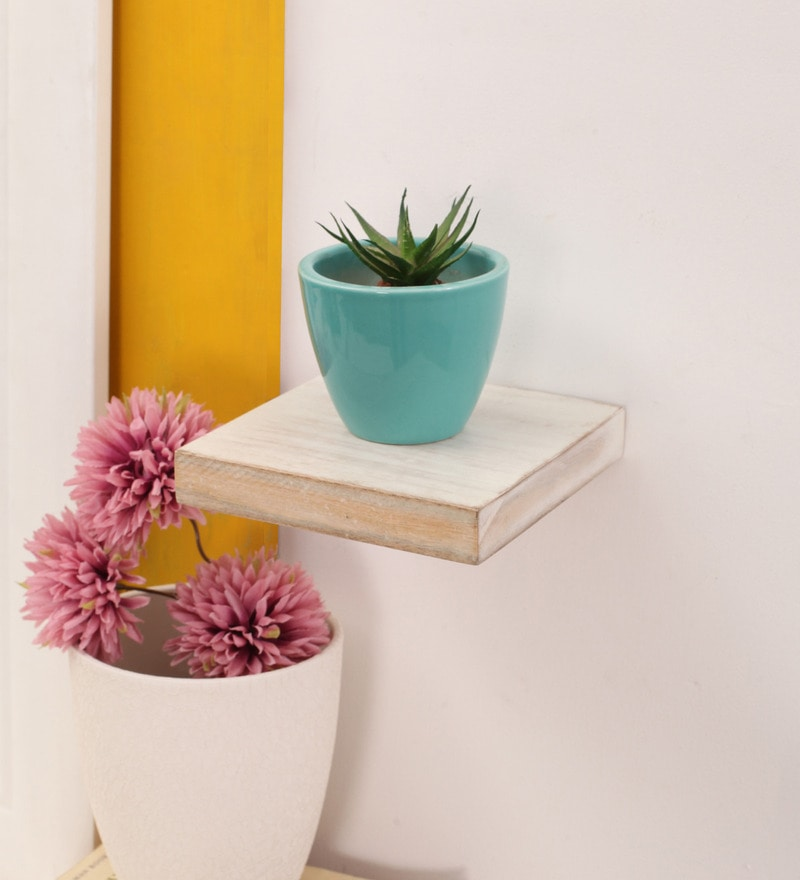 White Mango Wood Wall Shelf by Furnicheer