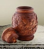 Brown Wooden Flower Design Vase with Cap by Furncoms