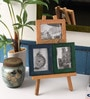 Multicolour Mango Wood 4 x 0.5 x 5 Inch Photo Collage with Easel Stand by Furnicheer